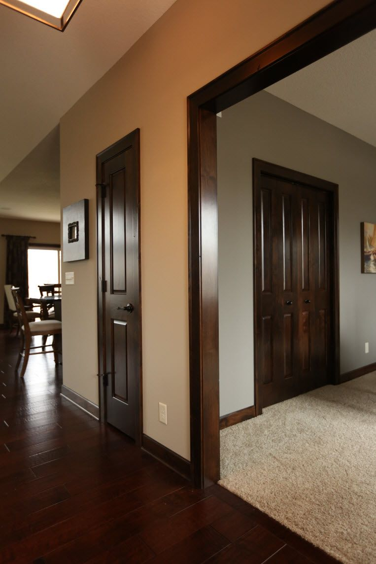 Interior doors dark stained poplar doors and mouldings for Wood doors painted trim