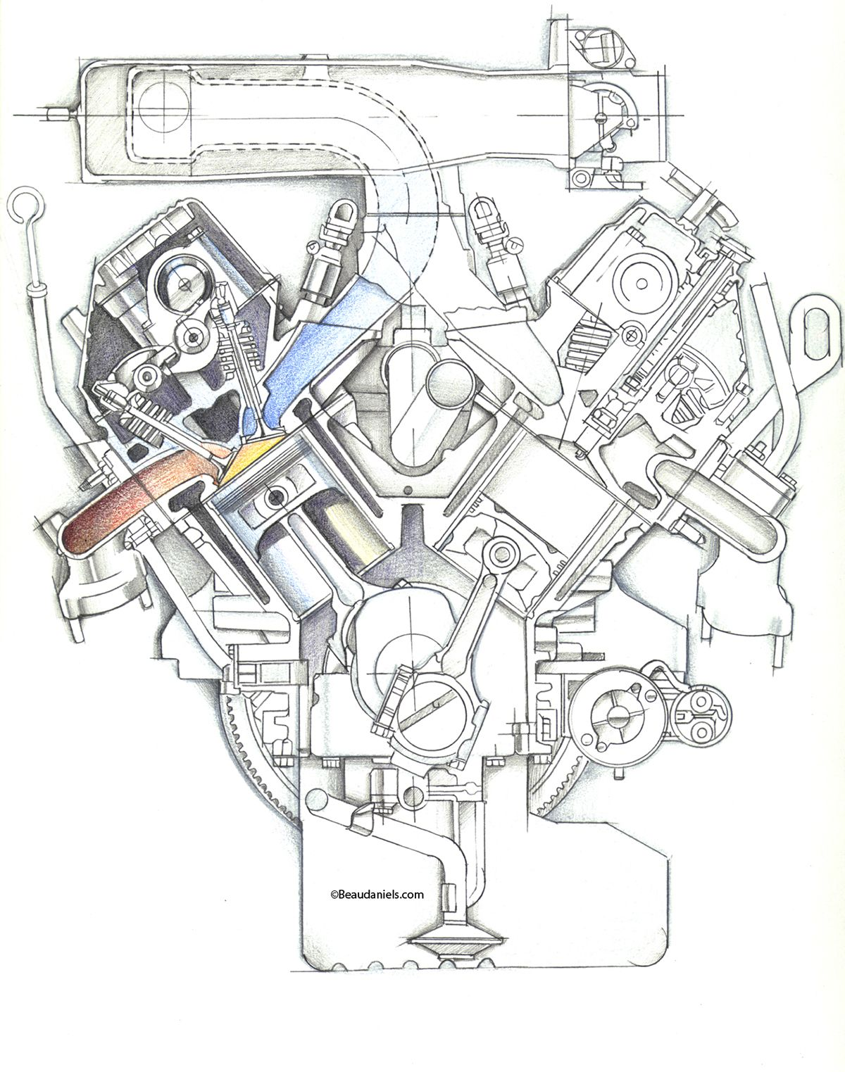 Cutaway Automotive Engines On Behance Design Drawing