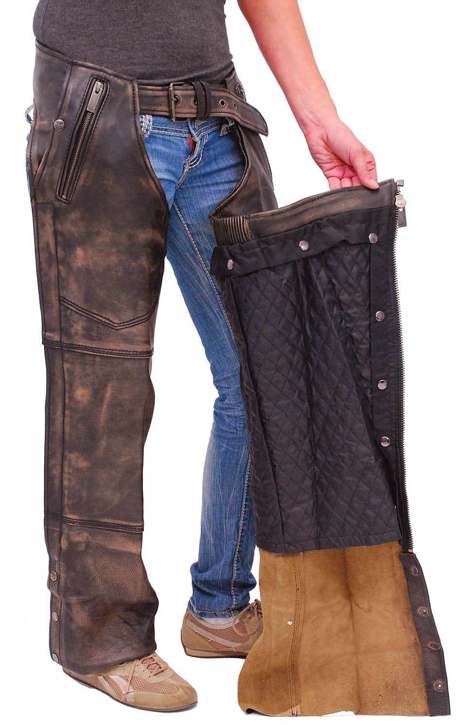 4 Pocket Vintage Brown Leather Chaps W Removable Lining Ca5500zdn In 2020 Motorcycle Chaps Leather Biker Vest Harley Davidson Merchandise