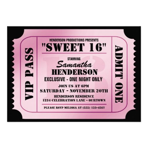 Sweet Sixteen VIP Ticket Style Party Invitations Sweet 16