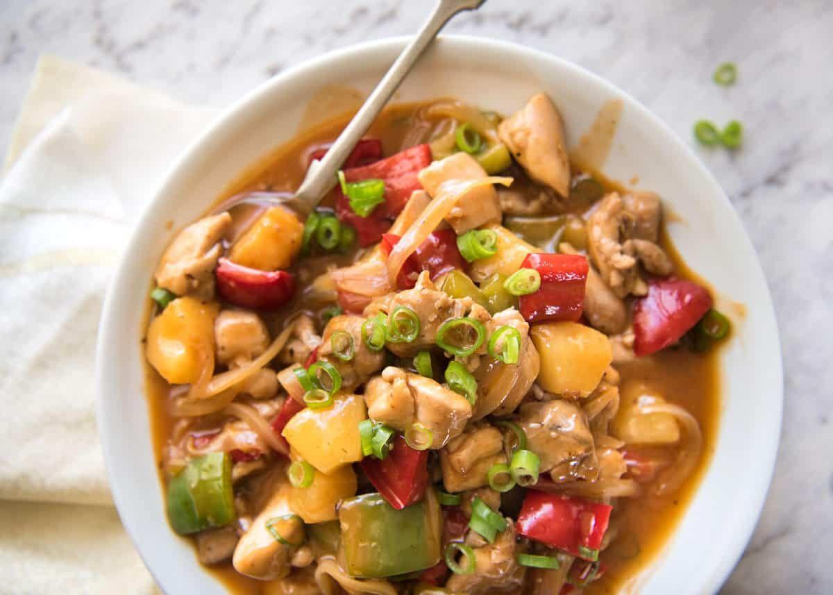 sweet and sour chicken stir fry  recipe  recipetin eats