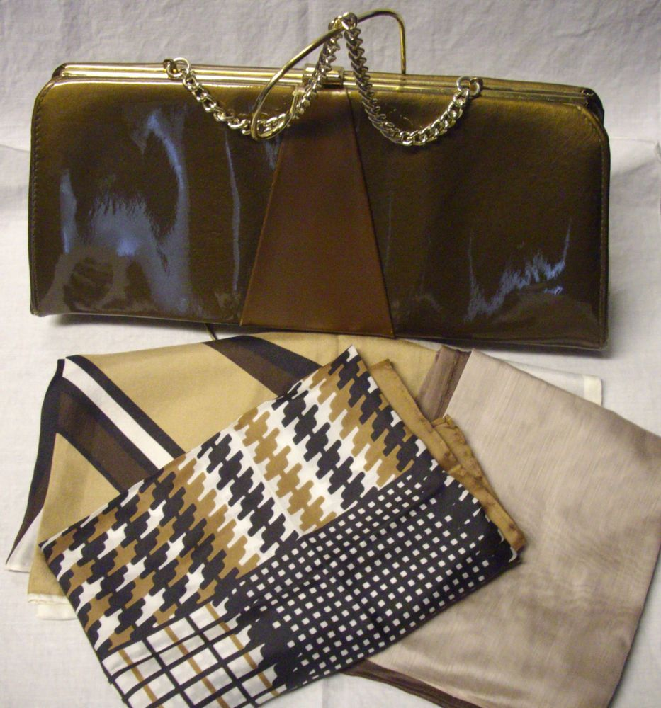 VTG.1960'S BROWN TWO_TONE VINYL HAND BAG/PURSE BROWN WITH 3 FREE SCARVES #TOWNCOUNTRYSHOES #EveningBag