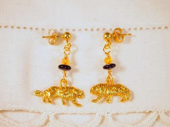 Tiger Earrings Crystals Glass Charm Dangling Beaded by CKDesignsUS, $8.00