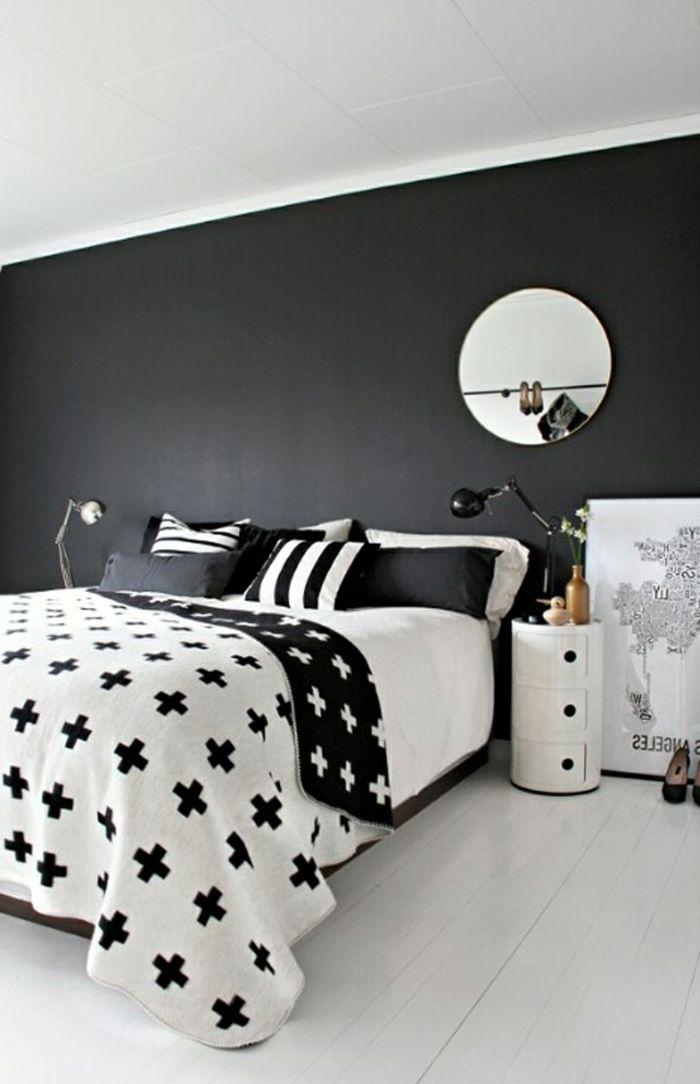 wände streichen ideen schlafzimmer dunkle wandfarbe heller boden, Schlafzimmer design