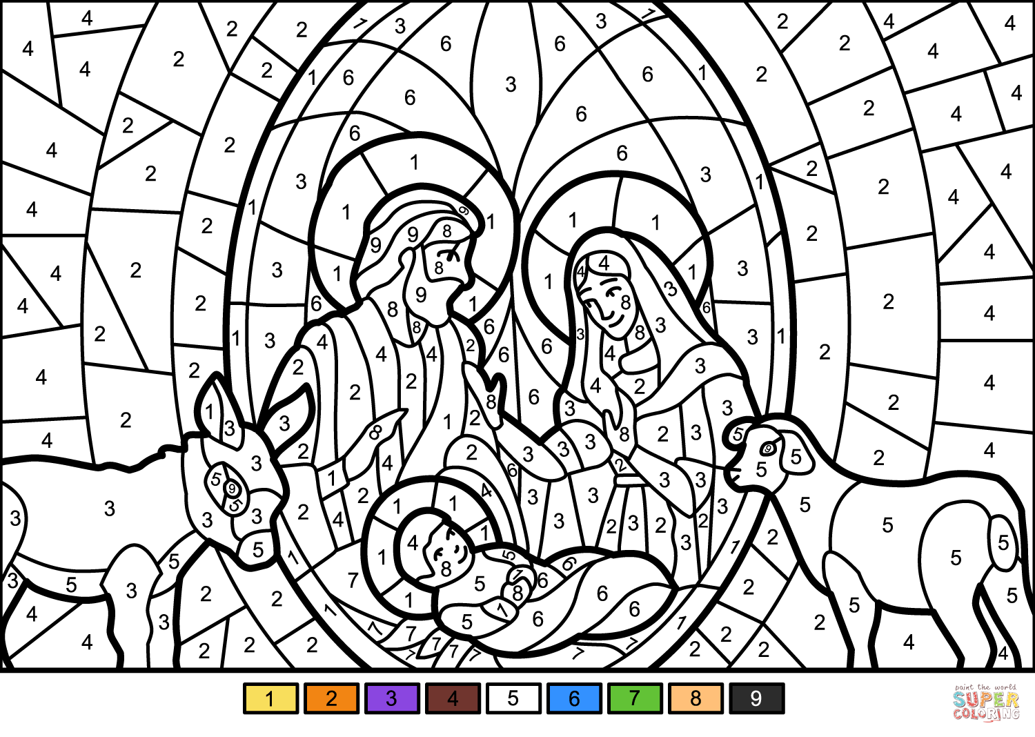 Christmas Nativity Scene Color By Number