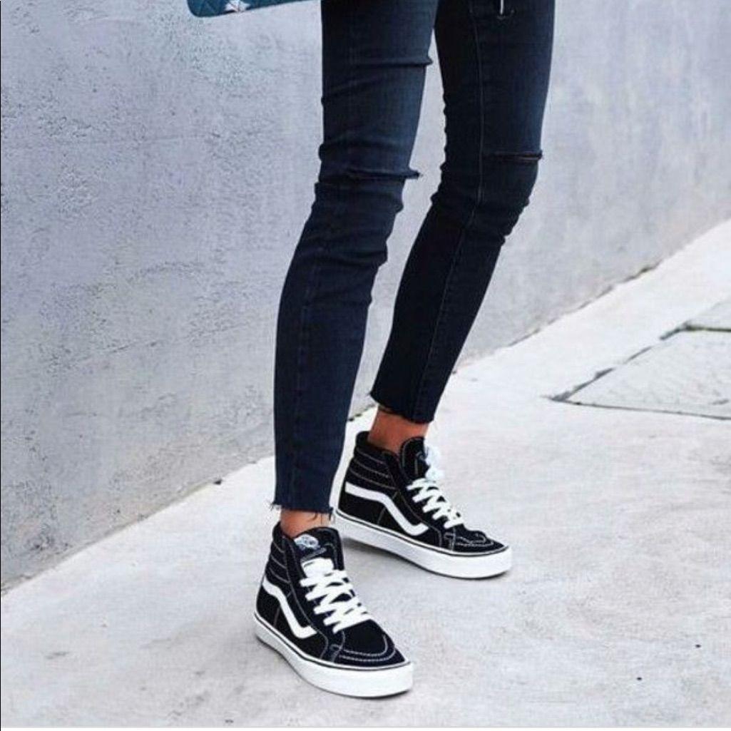Vans Shoes | Vans Old Skool Hi Blackwhite 7.5m9w | Color