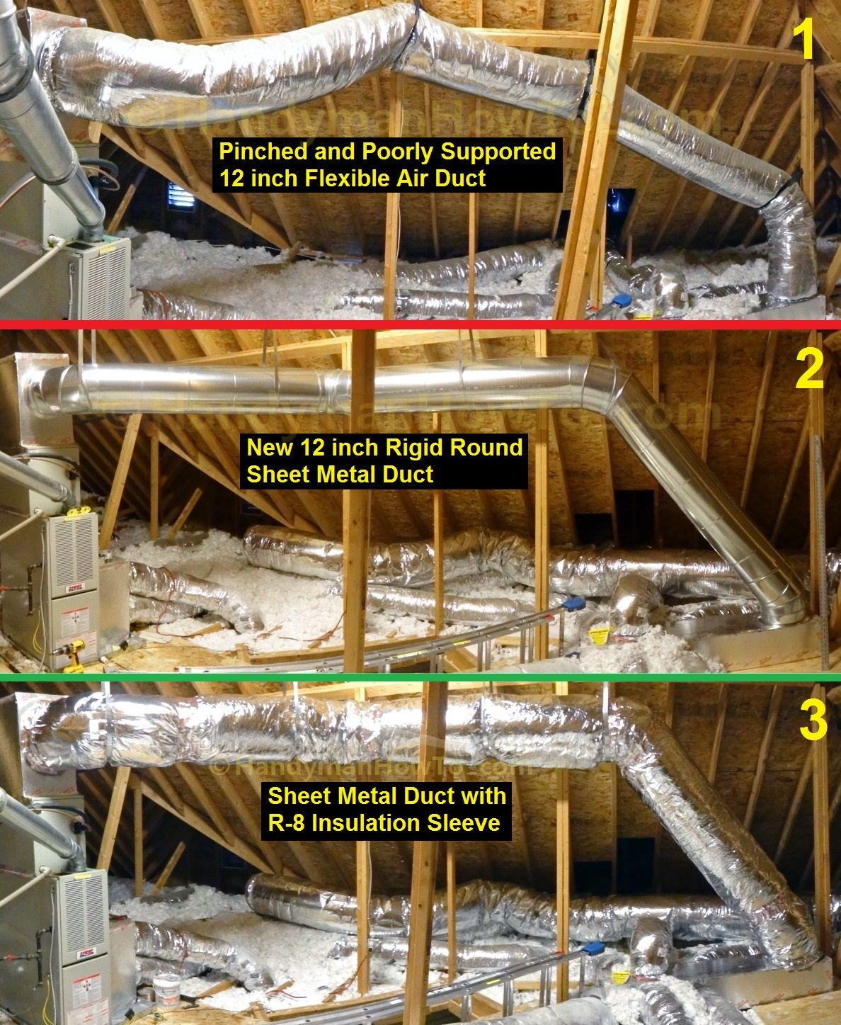 Flexible Air Duct Replacement With Round Sheet Metal Duct Air Duct Insulation Air Duct Attic Renovation