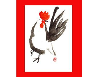 rooster card happy year of the rooster 2017 printed card from my unique original zen sumi ink painting send a unique greeting for baby shower thank you