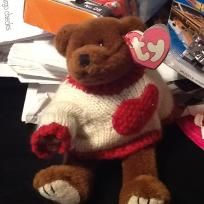CASANOVA WITH HIS COOL VALENTINES SWEATER WITH HIS OLD TEDDY BEAR STYLE HE IS MOVEABLE