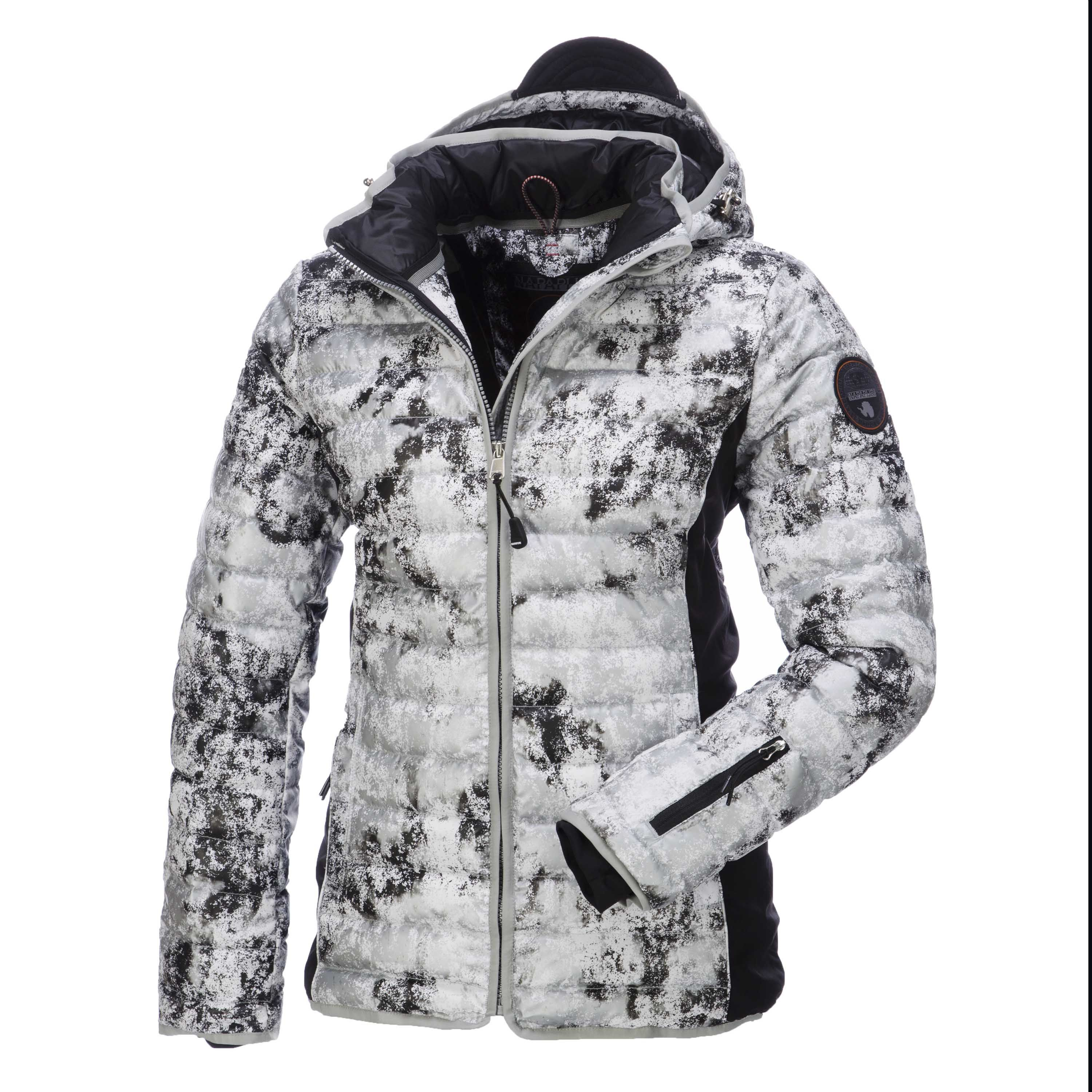 Napapijri Ciny Fantasy, down ski jacket, Women, White-Black-Multicolour Sportive padded down ski jacket bi-coloured Napapijri ski jacket lined with downs.This jackets comes with softshell applications for more movability.