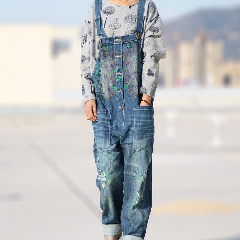 Ethnic Print Ripped Denim Overalls Distressed Jeans Women Jean