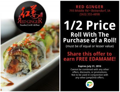 Awesome Sushi Deal At Red Ginger In Bettendorf Iowa 1 2