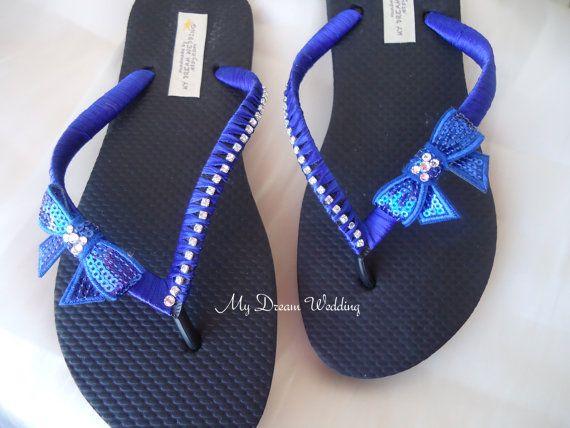 9ea360a1f152a Royal Blue Flip flops. Bow bridal flip flops-Swarovki Crystals ...