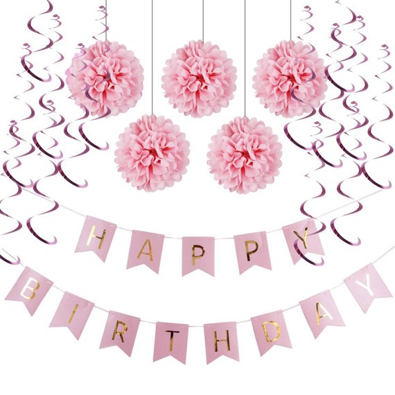 Photo of Pink Theme Happy Birthday Decoration Set-Princess Party, Pink Happy Birthday Banner, Sweet 16th Birthday, Girls First Birthday Party