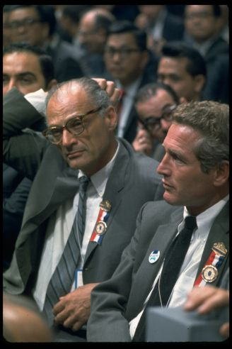 Arthur Miller And Paul Newman At The 1968 Democratic National