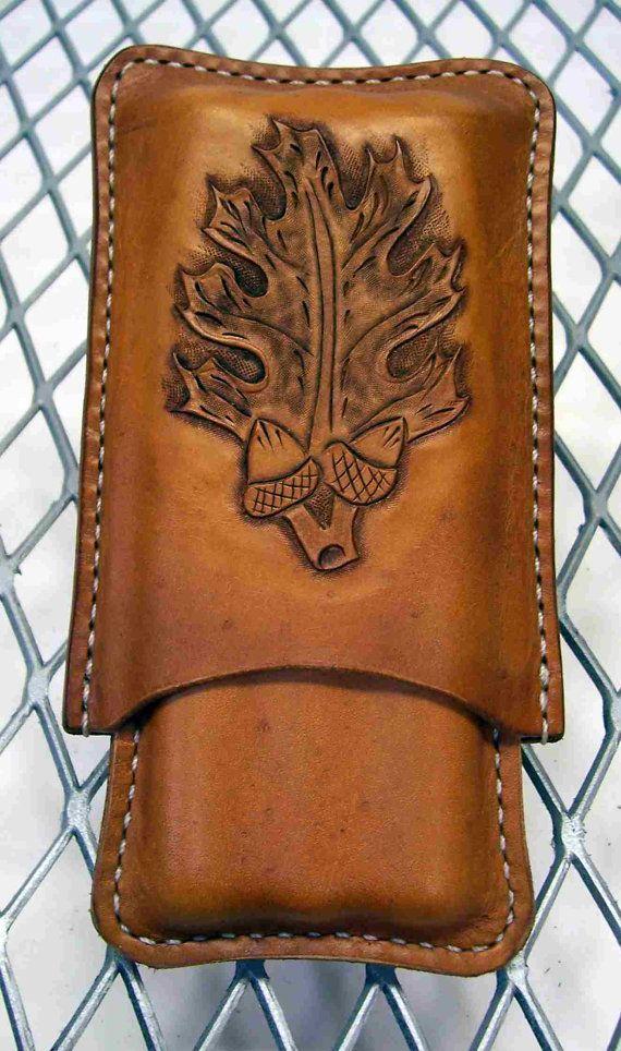 Handmade Leather 3 finger cigar case Oak leaf by LeatherBrewTote @Matt Nickles Valk Chuah cigar life , $55.00