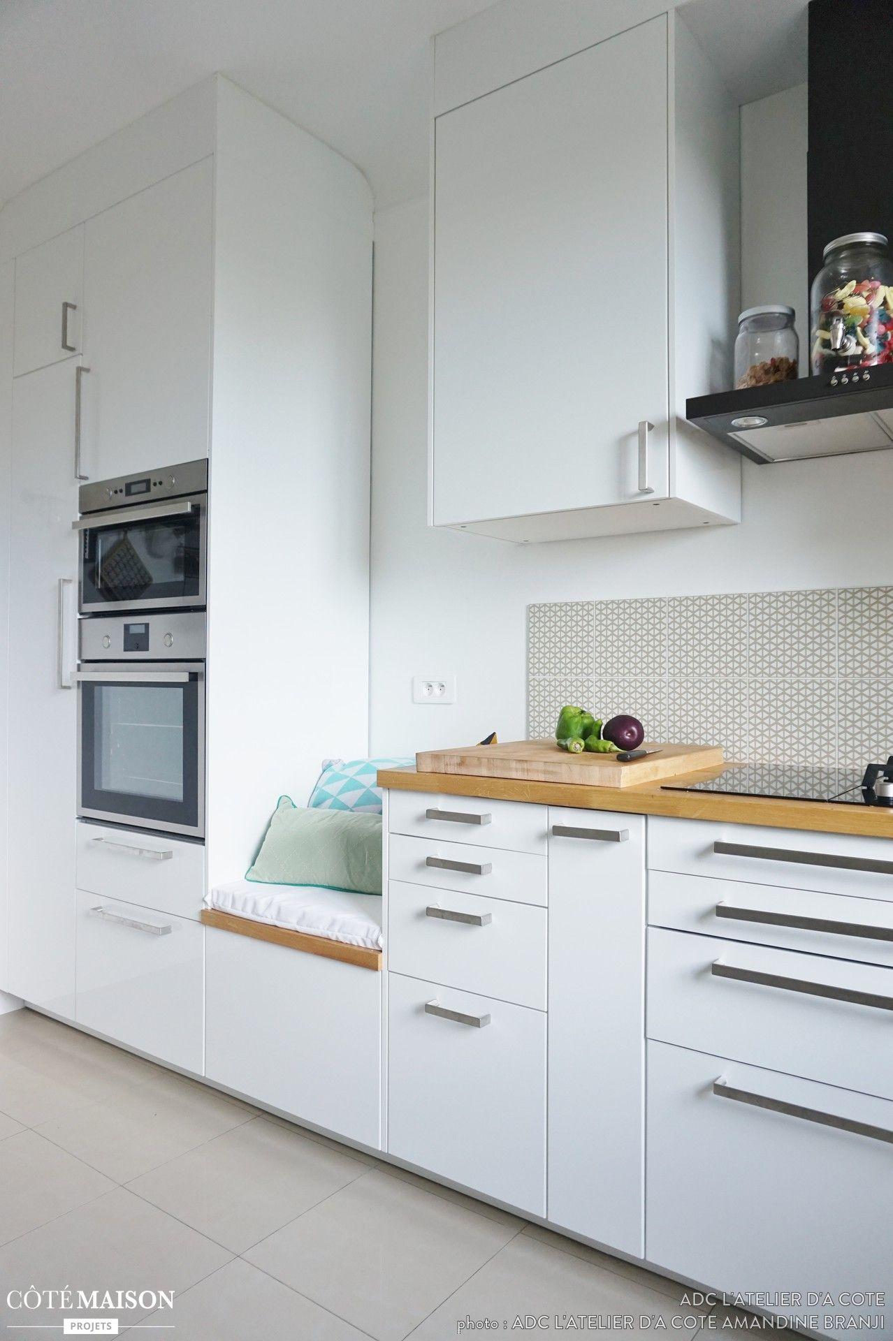 Une cuisine lumineuse blanche et bois adc l 39 atelier d 39 c t c t maison ikea - Cuisine ikea blanche et bois ...