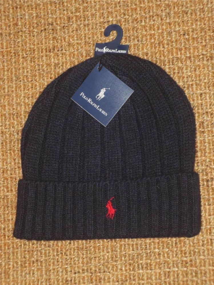 POLO RALPH LAUREN MEN'S BEANIE SKULL HAT NEW NAVY BLUE LAMBS WOOL NWT  #PoloRalphLauren #
