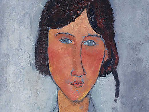 Amedeo Modigliani - Gypsy Woman with Baby - Detail face close-up