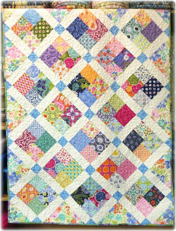 Baby Quilt Blocks.Baby Quilt Modern Scrappy Patchwork And Lattice With Kate