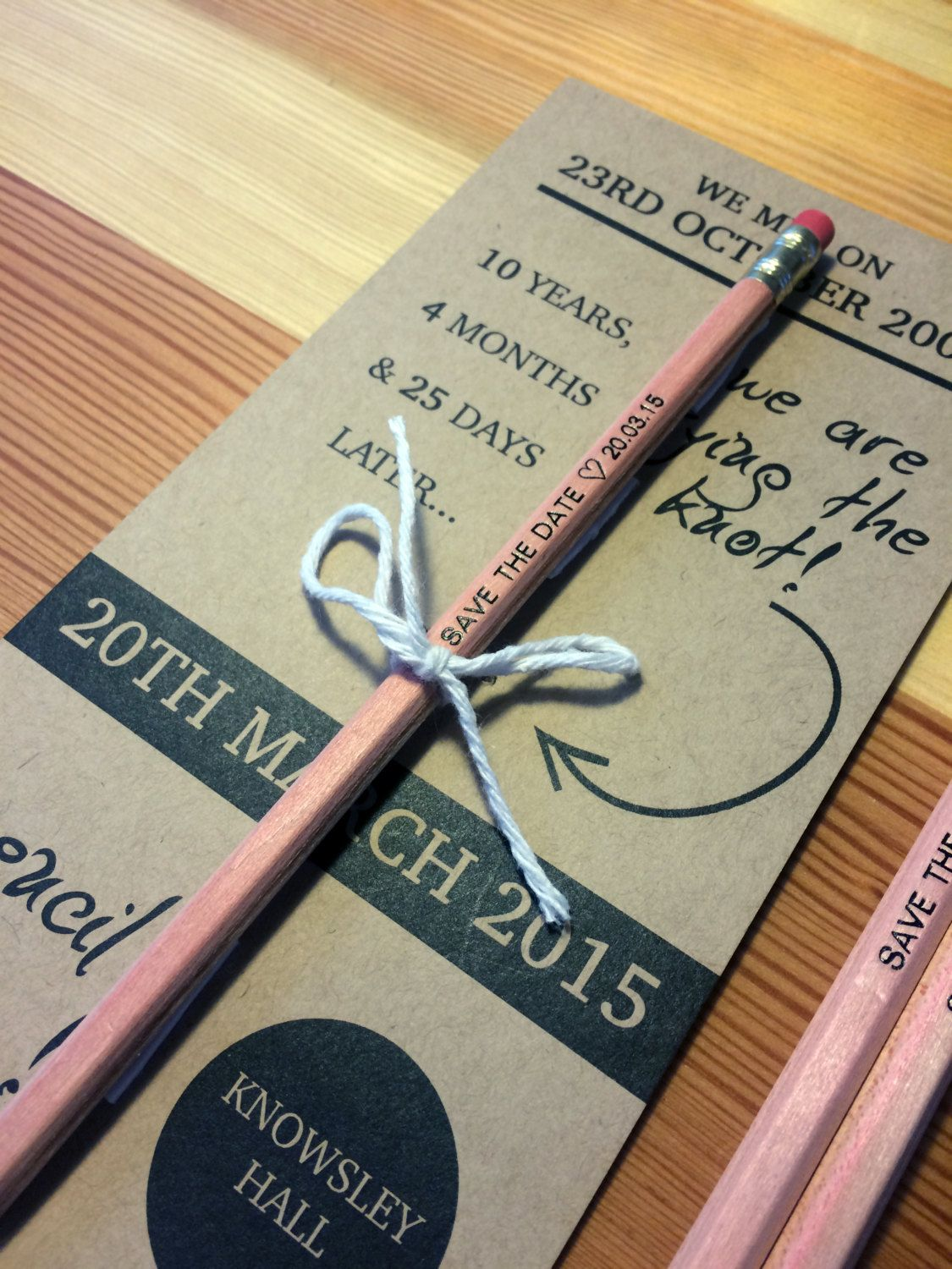 tie the knot wedding invitations etsy%0A Pencil us in we are tying the knot   Rustic Save the Date   Wedding  Invitation