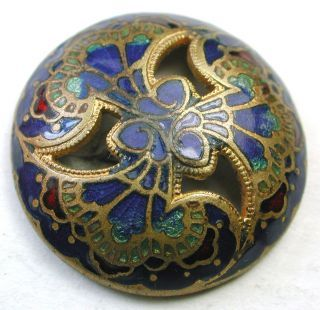 Antique French Enamel Button Pierced Dome Floral In Cobalt Aqua & Red photo