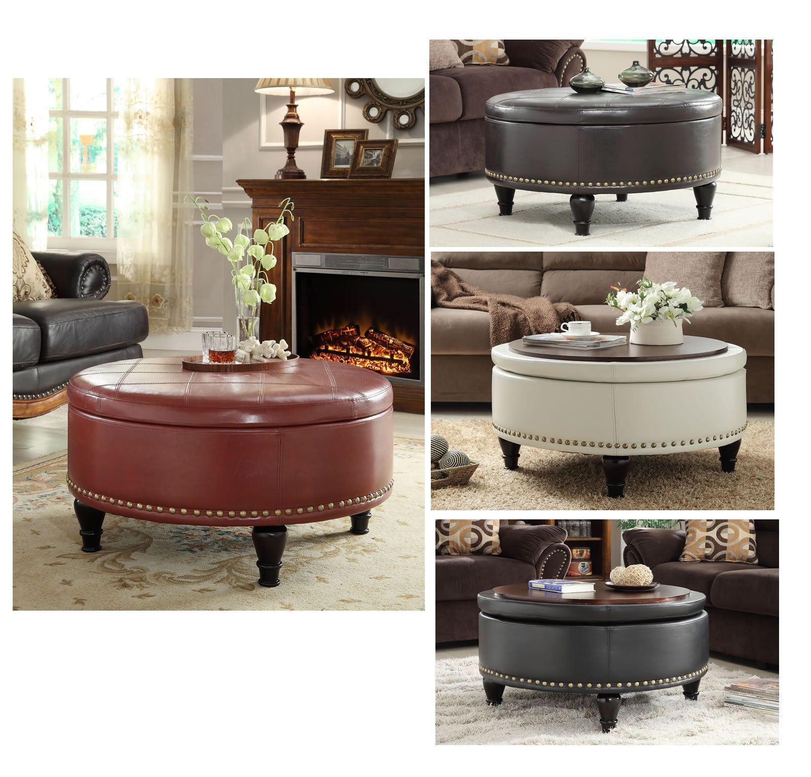 Inspired by Bassett Augusta Wood Legs Eco Leather Round Storage
