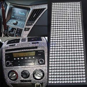 504Pcs Car Auto Interior Exterior Sticker Bling Crystal Design Rhinestone 6mm