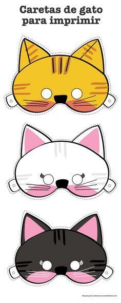 Caretas De Animales Gatos Manualidades Caretas De Animales Mascaras Para Imprimir Mascara De Gato