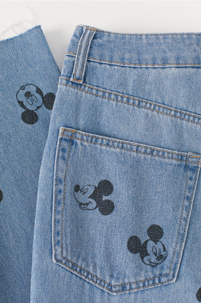 Mom High Ankle Jeans - Denim blue/Mickey Mouse - Ladies | H&M US