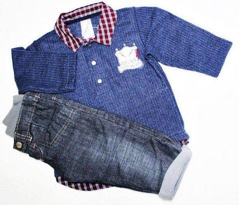 Conjunto G camisa gola polo de malha com calça jeans, (7 meses a 1 ano).