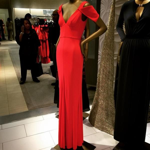 ABS Deep V Gown #SaksStyle, Curated Style at Saks Fifth Avenue ...