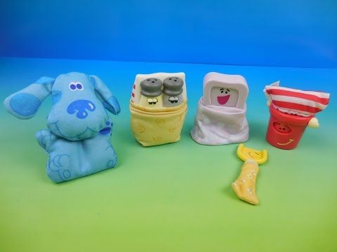 1999 Blue S Big Pajama Party Set Of 4 Subway Kids Meal Toys Video
