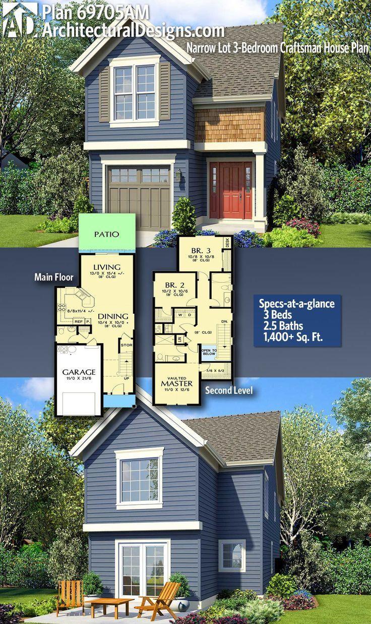 Plan Schmaler Bauplan für ein Handwerkerhaus mit 3 Schlafzimmern