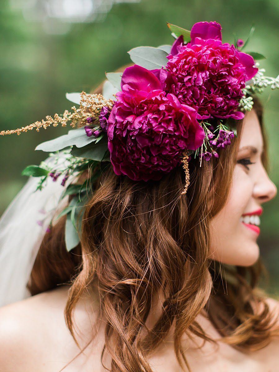 Maroon peony flower crown with a short hairstyle and veil you maroon peony flower crown with a short hairstyle and veil izmirmasajfo
