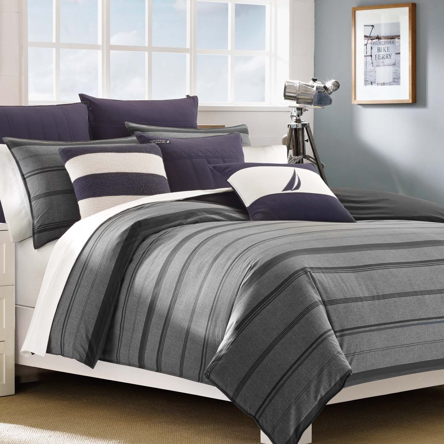 Overstock Bedroom Furniture Sets Nautica Sebec Grey Stripe 3 Piece Cotton Duvet Cover Set By