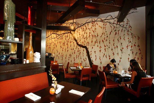 The wall mural art at gardens asian restaurant