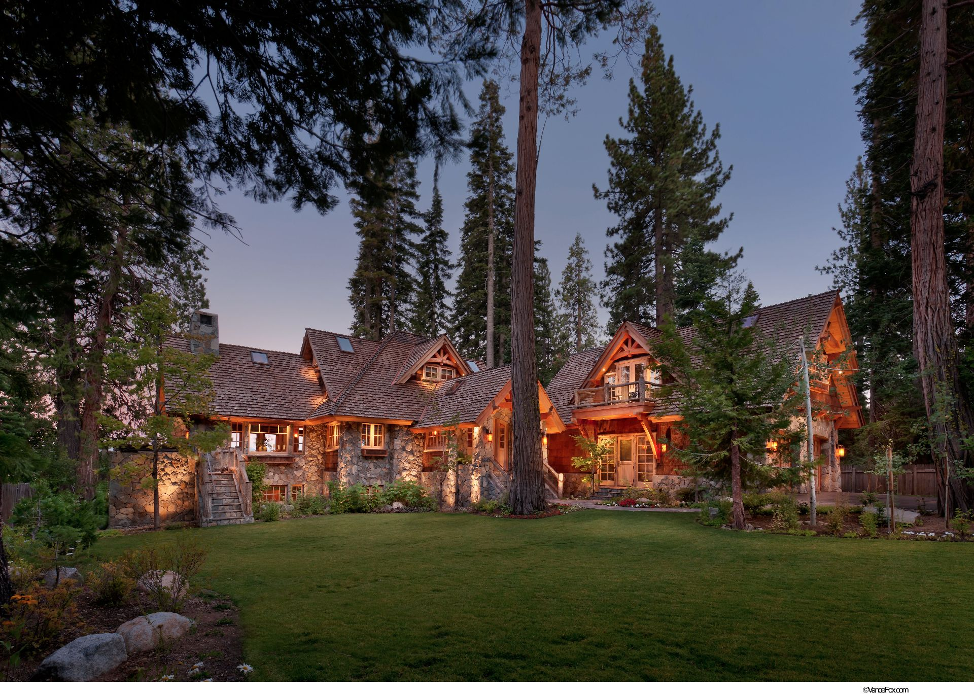 Old tahoe house by ooa design pottery barn style lodge for Log home architects