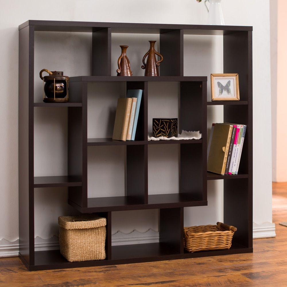 Modern room divider bookcase - Furniture Of America Aydan Modern Square Walnut Bookshelf Room Divider