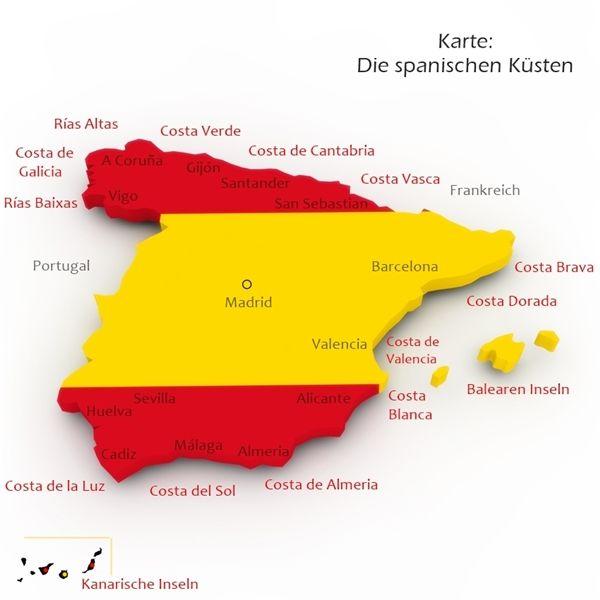 Karte Spanischer Reise Und Urlaubsziele Kusten Stadte In
