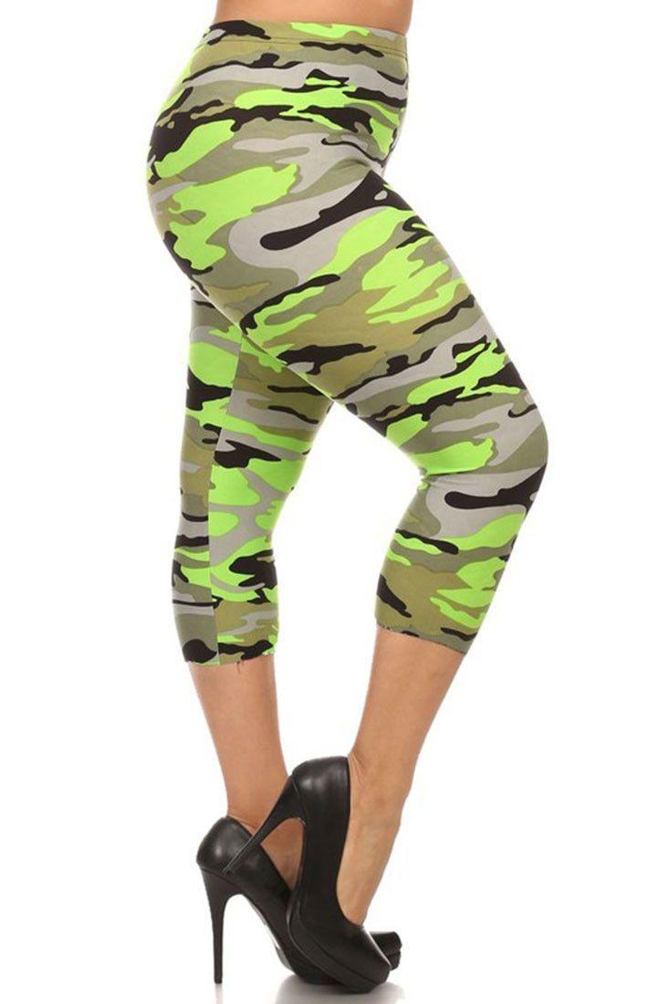 a9544847ab125 Neon Green Camo Design Plus Size Capri Leggings