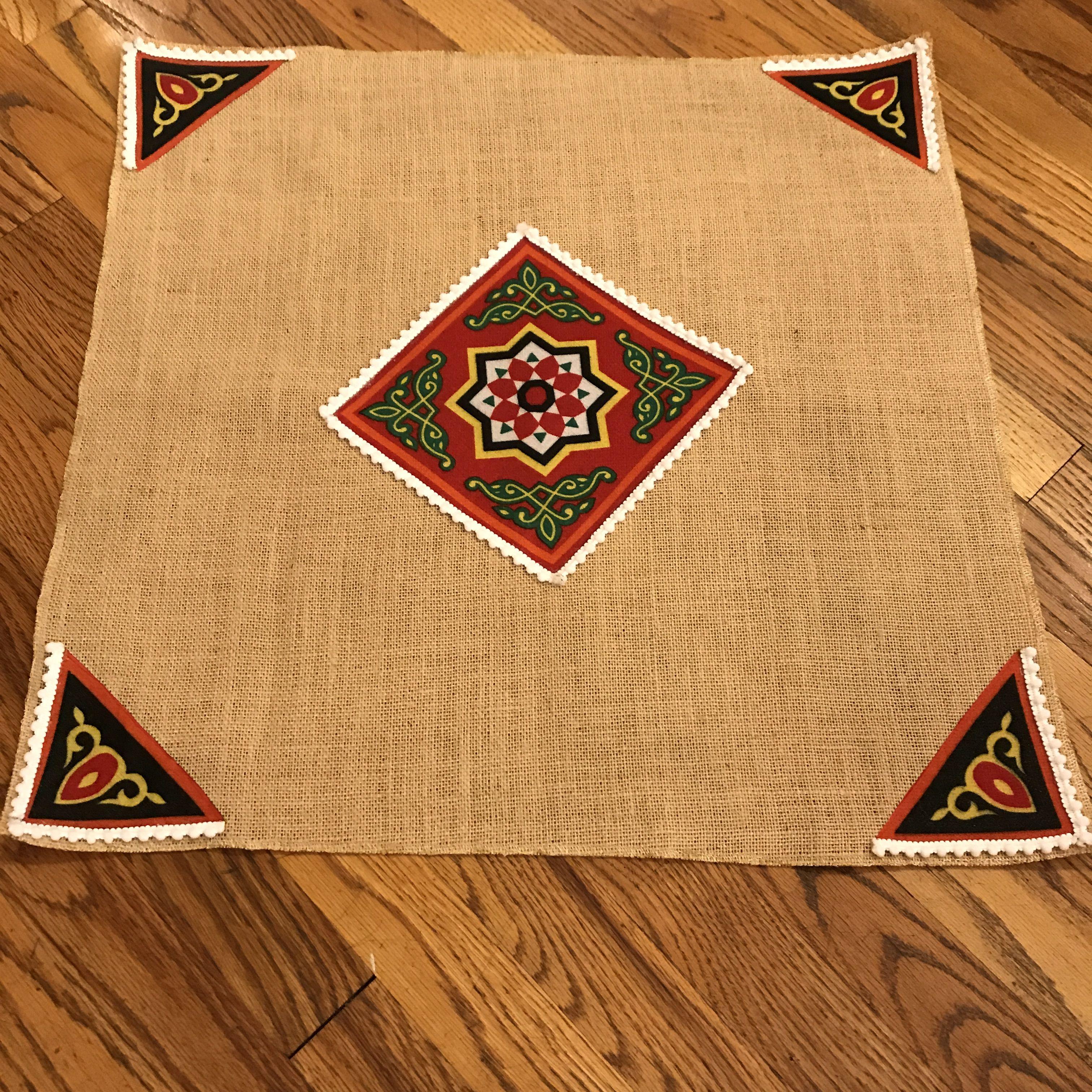 Ramadan Small Table Cloth For Coffee Tables Made From Burlap And Decorated With Traditional Khayamia Fabr Ramadan Crafts Ramadan Decorations Ramadan Activities