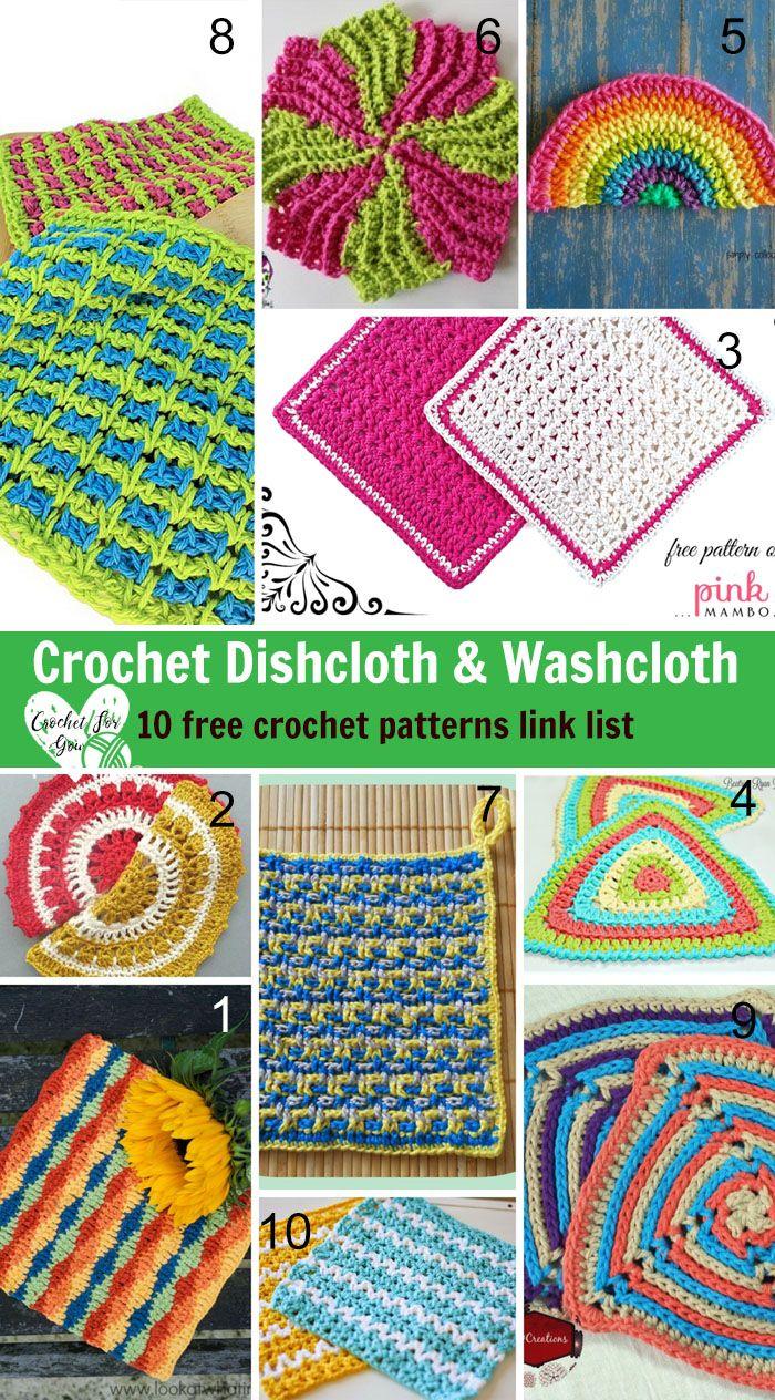 10 Free Crochet Dishcloth & Washcloth Patterns   Crochet dishcloths ...