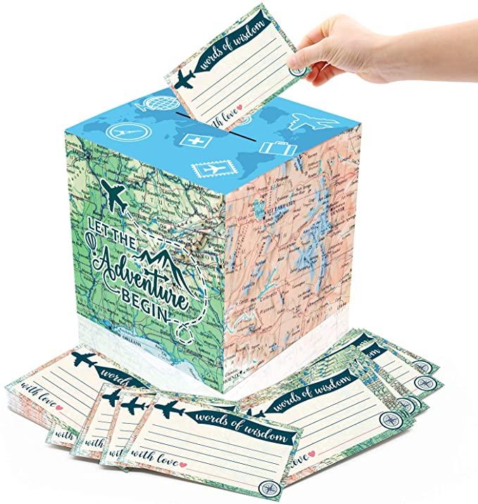 Amazon Com Yaaaaasss 51pcs Adventure Card Box Holder And Advice Cards For Adventure Awaits Bon Voyage Farewell Tr In 2021 Advice Cards Card Box Holder Party Card Box