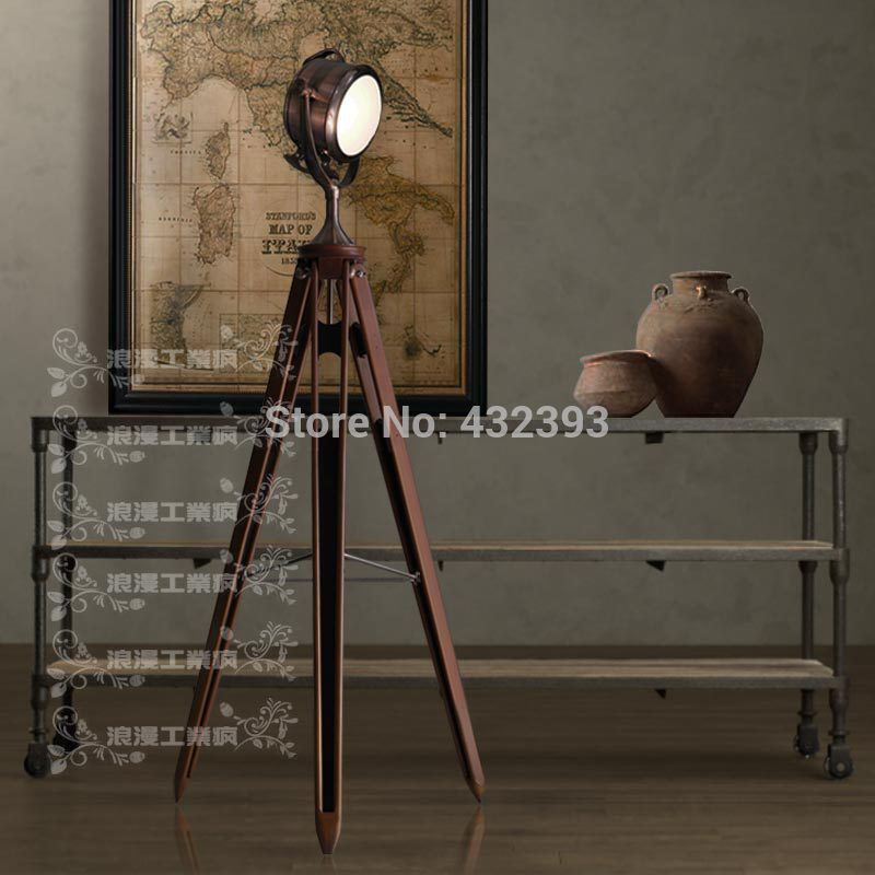 rh vintage loft machinery industry tripod floor lamp living room stand lamp bar decoration floor lamps - Standing Lamp Living Room