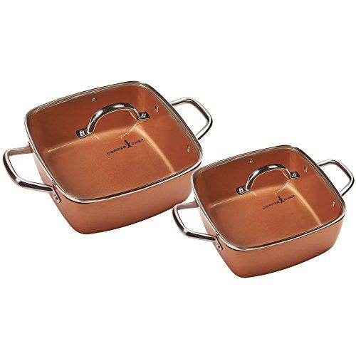 Copper Chef 8 11 Deep Dish Pan 4 Pc Set 8 And 11 Inch Casserole Deep Dish Pan 8 And 11 Square Tempered Glass Lid Oven Copper Chef Dish Pan Deep Dish