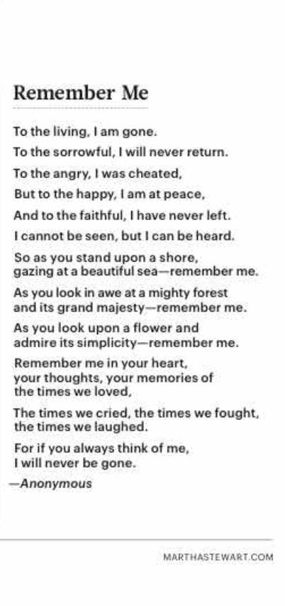Remember me poem   Truth   Funeral poems, Poem about death