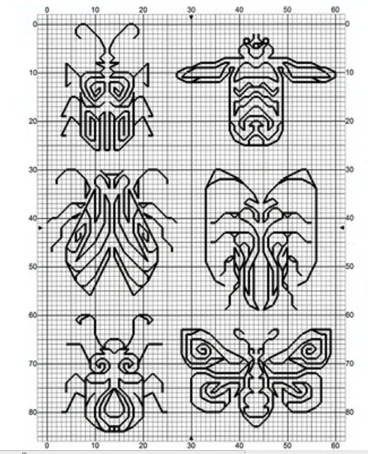 mono bugs | Blackwork | Pinterest | Bordado, Punto and Patrones