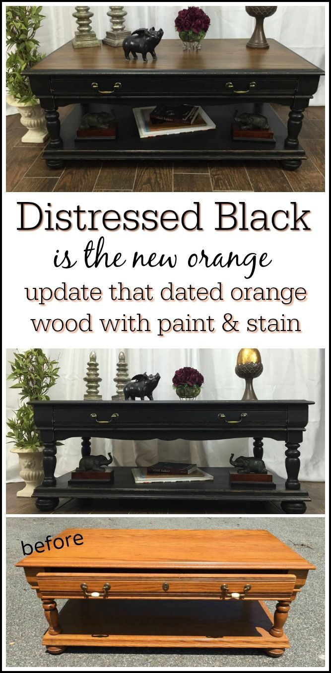 Update Your Dated Orange Wood With A Classic Painted Furniture Makeover  Using Paint And Stain. Black Distressed Coffee Table With Stain Top Is An  All Time ...