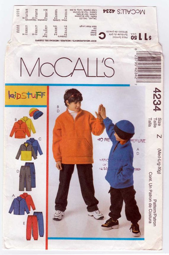 Boys Fleece Jacket Hat Pants Top Pattern Size Med 7-8 Large ...
